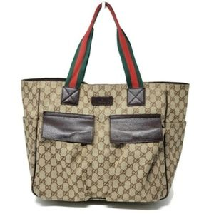 100% Auth Gucci Canvas Large Tote Bag